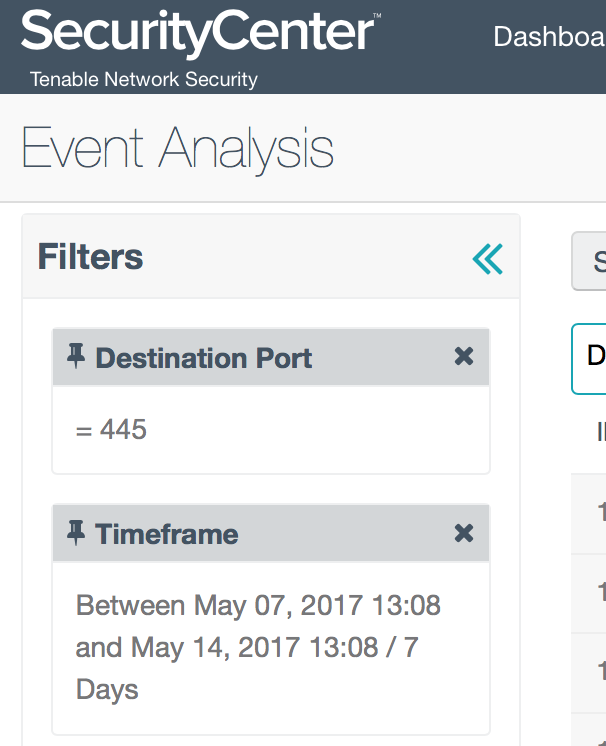 Event Analysis filters